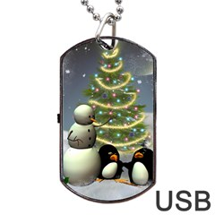 Funny Snowman With Penguin And Christmas Tree Dog Tag Usb Flash (one Side)