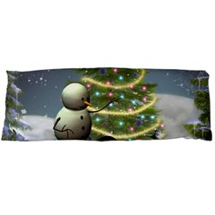 Funny Snowman With Penguin And Christmas Tree Body Pillow Case (dakimakura)