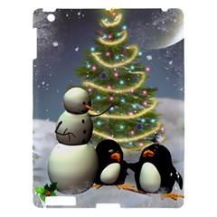 Funny Snowman With Penguin And Christmas Tree Apple Ipad 3/4 Hardshell Case