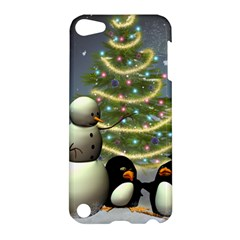 Funny Snowman With Penguin And Christmas Tree Apple Ipod Touch 5 Hardshell Case