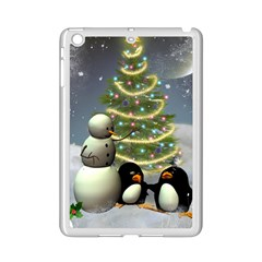 Funny Snowman With Penguin And Christmas Tree Ipad Mini 2 Enamel Coated Cases