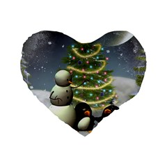 Funny Snowman With Penguin And Christmas Tree Standard 16  Premium Heart Shape Cushions