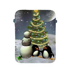 Funny Snowman With Penguin And Christmas Tree Apple Ipad 2/3/4 Protective Soft Cases