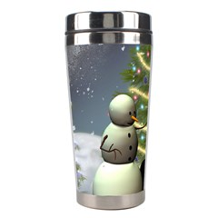 Funny Snowman With Penguin And Christmas Tree Stainless Steel Travel Tumblers