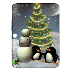 Funny Snowman With Penguin And Christmas Tree Samsung Galaxy Tab 3 (10 1 ) P5200 Hardshell Case