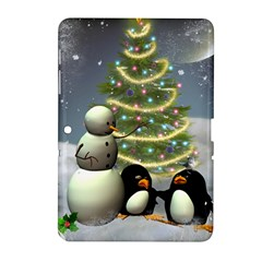 Funny Snowman With Penguin And Christmas Tree Samsung Galaxy Tab 2 (10 1 ) P5100 Hardshell Case