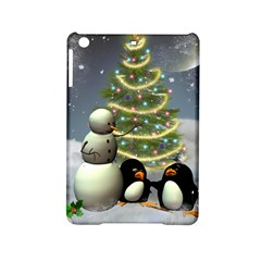 Funny Snowman With Penguin And Christmas Tree Ipad Mini 2 Hardshell Cases