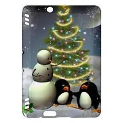 Funny Snowman With Penguin And Christmas Tree Kindle Fire Hdx Hardshell Case