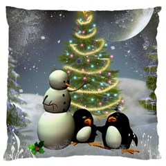 Funny Snowman With Penguin And Christmas Tree Large Flano Cushion Case (one Side)