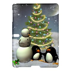 Funny Snowman With Penguin And Christmas Tree Samsung Galaxy Tab S (10 5 ) Hardshell Case