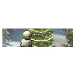Funny Snowman With Penguin And Christmas Tree Satin Scarf (oblong)