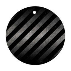 Stripes3 Black Marble & Gray Metal 1 Ornament (round)