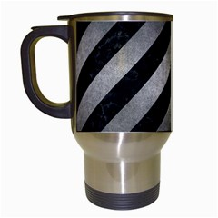 Stripes3 Black Marble & Gray Metal 1 Travel Mugs (white)