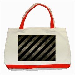 Stripes3 Black Marble & Gray Metal 1 Classic Tote Bag (red)