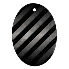 Stripes3 Black Marble & Gray Metal 1 Oval Ornament (two Sides)