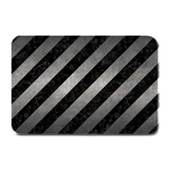 Stripes3 Black Marble & Gray Metal 1 Plate Mats