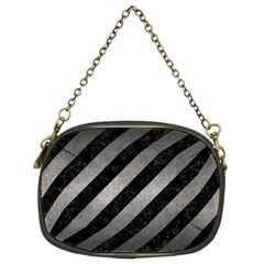 Stripes3 Black Marble & Gray Metal 1 Chain Purses (two Sides)