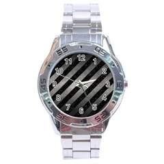 Stripes3 Black Marble & Gray Metal 1 Stainless Steel Analogue Watch
