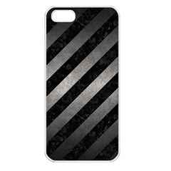 Stripes3 Black Marble & Gray Metal 1 Apple Iphone 5 Seamless Case (white)
