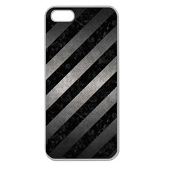 Stripes3 Black Marble & Gray Metal 1 Apple Seamless Iphone 5 Case (clear)
