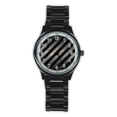 Stripes3 Black Marble & Gray Metal 1 Stainless Steel Round Watch
