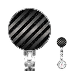 Stripes3 Black Marble & Gray Metal 1 Stainless Steel Nurses Watch