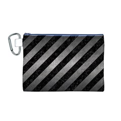 Stripes3 Black Marble & Gray Metal 1 Canvas Cosmetic Bag (m)