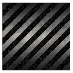 Stripes3 Black Marble & Gray Metal 1 Large Satin Scarf (square)