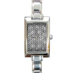 Brick2 Black Marble & Gray Metal 2 (r) Rectangle Italian Charm Watch