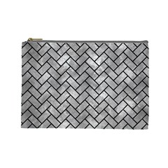 Brick2 Black Marble & Gray Metal 2 (r) Cosmetic Bag (large)
