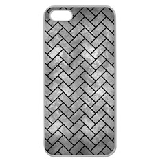 Brick2 Black Marble & Gray Metal 2 (r) Apple Seamless Iphone 5 Case (clear)