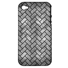 Brick2 Black Marble & Gray Metal 2 (r) Apple Iphone 4/4s Hardshell Case (pc+silicone)
