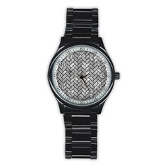 Brick2 Black Marble & Gray Metal 2 (r) Stainless Steel Round Watch