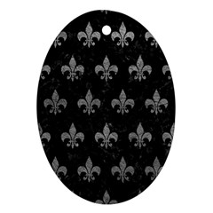 Royal1 Black Marble & Gray Leather (r) Ornament (oval)