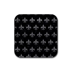 Royal1 Black Marble & Gray Leather (r) Rubber Square Coaster (4 Pack)