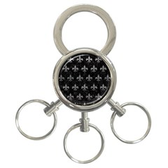 Royal1 Black Marble & Gray Leather (r) 3 Ring Key Chains