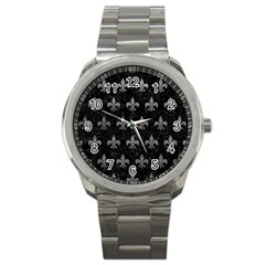 Royal1 Black Marble & Gray Leather (r) Sport Metal Watch