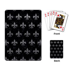 Royal1 Black Marble & Gray Leather (r) Playing Card