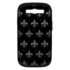Royal1 Black Marble & Gray Leather (r) Samsung Galaxy S Iii Hardshell Case (pc+silicone)