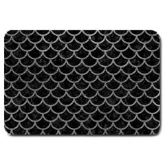 Scales1 Black Marble & Gray Leather Large Doormat