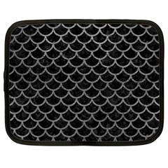 Scales1 Black Marble & Gray Leather Netbook Case (large)