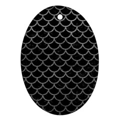 Scales1 Black Marble & Gray Leather Ornament (oval)