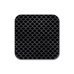 Scales1 Black Marble & Gray Leather Rubber Coaster (square)