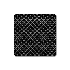 Scales1 Black Marble & Gray Leather Square Magnet