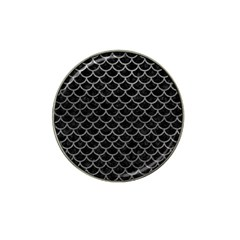 Scales1 Black Marble & Gray Leather Hat Clip Ball Marker (4 Pack)
