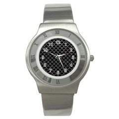 Scales1 Black Marble & Gray Leather Stainless Steel Watch