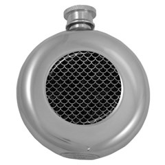 Scales1 Black Marble & Gray Leather Round Hip Flask (5 Oz)