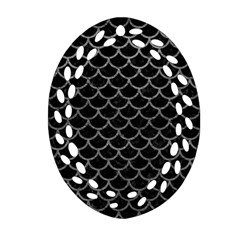 Scales1 Black Marble & Gray Leather Ornament (oval Filigree)