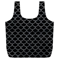 Scales1 Black Marble & Gray Leather Full Print Recycle Bags (l)