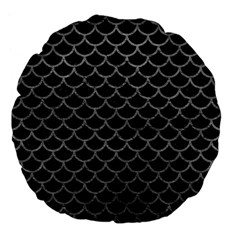 Scales1 Black Marble & Gray Leather Large 18  Premium Flano Round Cushions